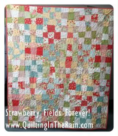 Strawberry Fields Forever Quilt « Moda Bake Shop--Really like this one better than previous patterns that used 9 different fabrics in the stack--this one only uses 4 different fabrics--when completed there are 2 blocks that co-ordinate