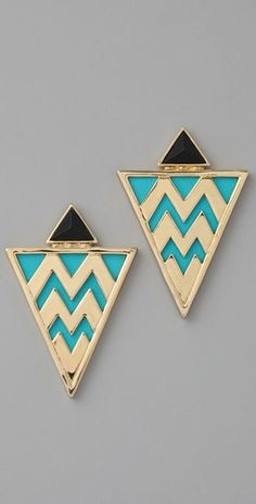 House of Harlow 1960 Leather Tribal Earrings