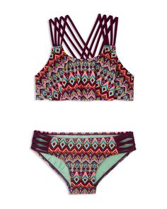 Perfect for the beach or the pool, this strappy two-piece from Gossip Girl is a fun-in-the-sun essential to pack on your next family vacation. | Nylon/spandex; lining: polyester | Hand wash | Imported