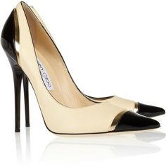 Jimmy Choo Limit tri-tone leather pumps (780 BAM) ❤ liked on Polyvore featuring shoes, pumps, heels, sapatos, zapatos, high heels, white, jimmy choo pumps, pointy toe pumps and slip-on shoes