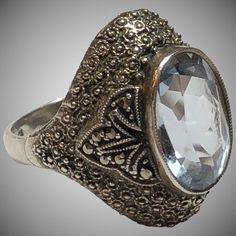 Vintage Theodor Fahrner German Sterling Silver Blue Spinel & Marcasite Filigree Ring Germany #SterlingSilverVintage