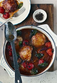 Chicken Catalan style is a rich main dish that is a great dish for fall. Chicken is browned, then simmered in a sauce of prunes, raisins, pine nuts, onions, tomatoes and white wine.