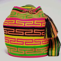 Cabo Wayuu Mochila bags areintricate in their designs, can takeapproximately 15 -20daysto weave. Hand Woven Strap.  Handmade in South America by the indige
