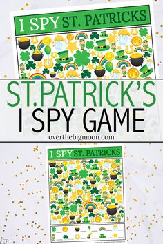 This kids St.Patrick's Day I Spy Printable Game is such a fun activity for kids to play on St. Just print and play! So simple! St Patrick Day Activities, Fun Activities For Kids, Class Activities, Printable Games For Kids, Free Printables, St Patrick's Day Crafts, Kid Crafts, Holiday Crafts, I Spy Games