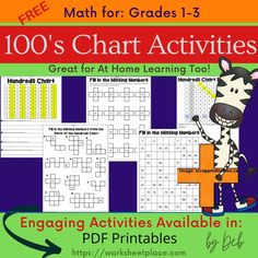 Grades 1-3 free activities for the 100's charts. Number Chart, 100 Chart, Hundreds Chart, Charts, Free Worksheets, Free Math, Home Learning, Free Activities, Grade 1