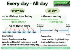 We have new charts for you covering two common mistakes in English. The first chart explains when to use Every day instead of All day. The second chart explains the difference between Every day (tw…
