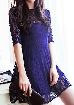 Mesh Heart Lace Dress - Navy