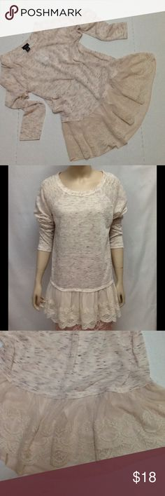 Ecru Top Lace Ruffle Trim Lovely long line top that would look good with leggings. Wide lace ruffle trim makes this tshirt very feminine. Rue 21 Tops Tees - Long Sleeve