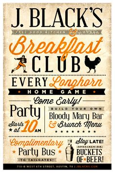 J. Blacks as a Breakfast Club every UT Home game with a FREE shuttle to the UT tailgates!