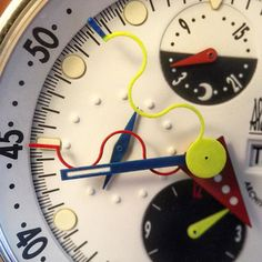 The watches were always a bit of a hot mess to read the time, but Alain's colors were like Calder art pieces.fun and vibrant.way ahead of his time. Alain Silberstein, Hot Mess, Art Pieces, Clock, Vibrant, Watches, Instagram Posts, Fun, Watch