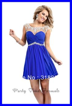 2014 Fashion Blue Ruffled Chiffon Mini Cocktail Dresses For Girls With Silver Beads Cap Sleeve Perspective Prom Dress Gown 2014-in Cocktail ...