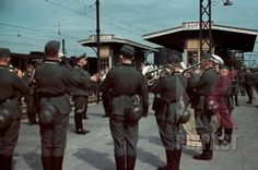 Train Station Ruffec France 1940, German Military Music Band playing for soldiers
