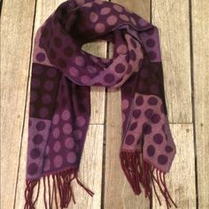 Purple Polka-Dot Scarf Purple polka-dot scarf, very soft. NWOT. Preston and York brand. Would be super cute paired with your favorite shirt and coat! Preston & York Accessories Scarves & Wraps