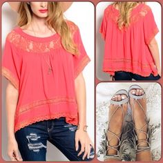 Crochet Top This adorable loose fitting top features short sleeves and crochet detail. 100% Rayon. (This closet does not trade or use PayPal.) Entro Tops Blouses