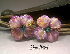 HANDMADE LAMPWORK PAIR glass earrings beads Donna Millard sra purple violet flowers by DonnaMillard on Etsy https://www.etsy.com/listing/186908559/handmade-lampwork-pair-glass-earrings