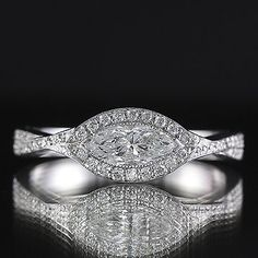 1.57ct EGL Pave Halo Marquise Diamond Engagement Ring H/VS2