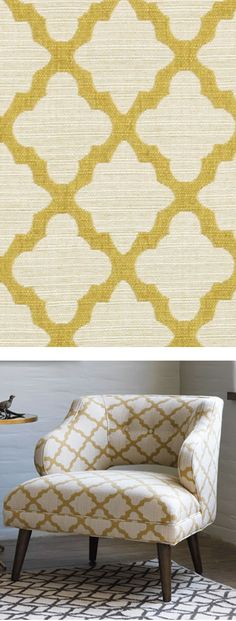Casablanca Geo, Citrine...use this to cover vintage captain chairs in dining room (already have fabric). Mustard and grey - love that combo