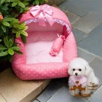 Colorfulhouse Princess Bed Design Puppy Bed Soft Suede Dog House Bed (Princess Pink), Plus Pet Paw Plush Bone Squeak Toy