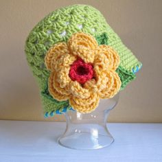 CROCHET PATTERN - In Full Bloom - a cloche hat with flower in 8 sizes (Infant - Adult L) - Instant PDF Download