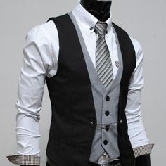 TheLees layered style slim vest waist coat - love the cuffs on that white shirt