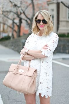 Spring and Summer Fashion 2014. Laser cut dress and soft pink bag. Beautiful! ::M::