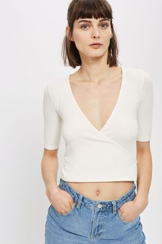 Half Sleeve Wrap Rib Top - New In Fashion - New In - Topshop USA