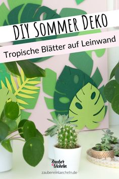 Ich stehe ja total auf Tropical Vibes und Pflanzen, wie man ganz unschwer an den DIYs hier auf meinem Kreativ-Blog erkennen kann. Ich bastel wahnsinnig gern mit Papier und bunten Farben, am liebsten als Kombi aus Rosa & Grün, sind ja meine Favoriten zur Zeit. Da passt, finde ich ja, das Thema tropische Blätter auf Leinwand total gut. Zauber ein Lächeln l DIY Sommer Dekoration l DIY Sommer Deko l DIY Sommer Ideen l tropische Blätter l tropische Blätter Vorlage Diy Party Dekoration, Diy Crafts, Creative Ideas, Plants, Inspiration, Illustration, Craft, Leaves, Typography Alphabet
