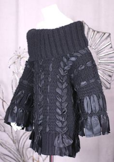 dior sweater with some satin ribbon stitched through - Google Search