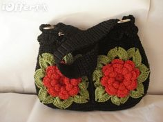 Handmade Crochet women black bag red flowers with green
