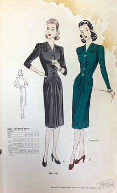 Page from a 1942 Vogue Patterns catalog. #laurenbacallstyle #vintagesewing #voguepatterns