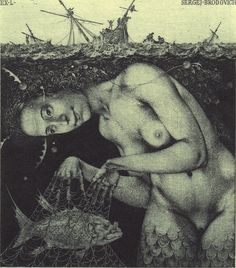 What an astounding mermaid! Konstantin Kalinovich bookplate, from the collection of Richard Sica