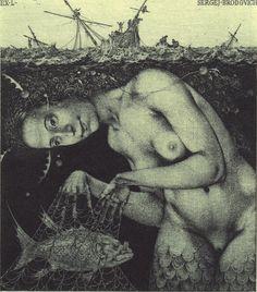 Ex-Libris illustration by Konstantin Kalinovich Ex Libris, Illustrations, Illustration Art, Mermaid Song, Art Magique, Water Nymphs, Mermaids And Mermen, Merfolk, Sea Monsters