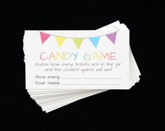 Candy Guessing Game Cards - Guess How Many Game - Printed Card - Mason Jar - Rainbow Jelly Bean - Fundraiser - Baby Shower - 3.5 x 2 in