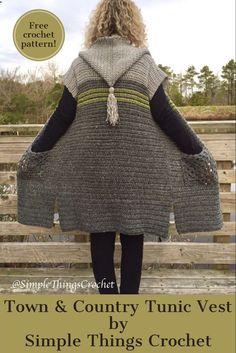 Warm and cozy hooded sweater! #crochettunicpattern Sooo Stinking CUTE!!!!!!