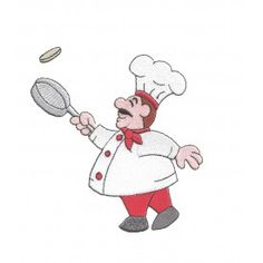 cute french chef flipping food with frying pan red pants red scarf filled machine embroidery design