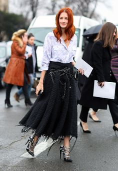Contrast in fabric weight and color between the blouse and skirt is beautiful, especially when pulled together with these 'to die for' heels! (Chanel skirt, Balenciaga shoes)