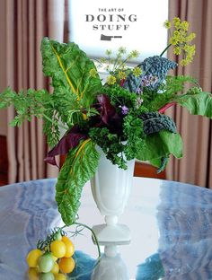 Who says vegetables have to go on a plate? Summer greens and vegetables that have gone to seed always make a showstopping flower arrangement.