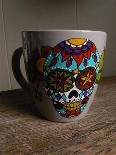 Colourful Sugar Skull, day of the dead hand painted mug. $36.00, via Etsy.