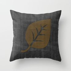 Giant Gold Leaf Black Denim Throw Pillow
