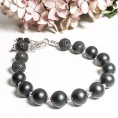 Aromatherapy bracelet that is just as beautiful as it is functional: matte onyx, lava beads, and sterling silver to give you years of wearability in a simple go-with-everything design. Our Cyber Week Sale is on now! Sterling Silver Anklet, Silver Anklets, Aromatherapy Jewelry, Gemstone Bracelets, Artisan Jewelry, Gemstones, Cad Free, Spring Sale, Lava