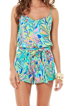 Lilly Pulitzer Deanna Tank Top Romper in Hot Spot