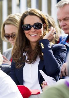 A rare sighting with sunglasses on, while watching Zara Phillips compete in equestrian events on July 30.    From Rex/Rex USA.    All the Outfits Kate Middleton Has Worn to the Summer Olympics | Vanity Fair