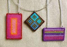 Plastic Canvas Needlepoint Pendants