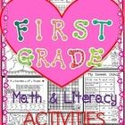 Valentine's Day math and literacy packet for first graders. Includes probability, graphing, problem solving and more. Fun learning with active engagement. Valentines Kids Games, Valentine Theme, Valentine Cupid, Valentine Crafts, Teaching First Grade, 1st Grade Math, Teaching Math, Teaching Ideas, School Fun