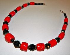18 Handcrafted Coral and Black Onyx Necklace by ZENTALITY on Etsy