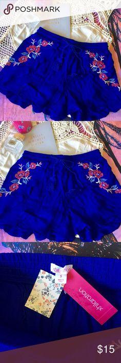 Boho Embroidered Shorts Boho royal blue summer shorts with tassel drawstrings & Embroidered flowers  Shorts