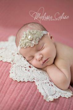 LORELEI, Baby Crystal & Pearl Beaded Headband, crystal headpiece, Newborn photo prop, Baptism headband, Baby girl head piece