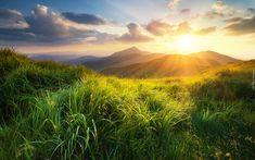 Góry, Trawa, Wschód słońca