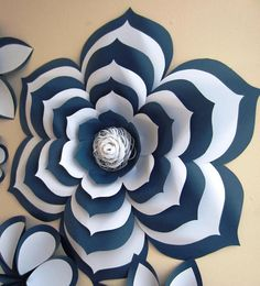 Chanel Inspired Large Paper Flowers Paper Flower Set Two image 1 Navy Flowers, Giant Paper Flowers, Paper Roses, Floral Flowers, How To Make Paper Flowers, Large Paper Flowers, Origami Design, Origami Art, Paper Crafts