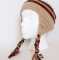 Retro Unisex Striped Earflap Hat Crochet  Beanie by Yarnettes, $20.00